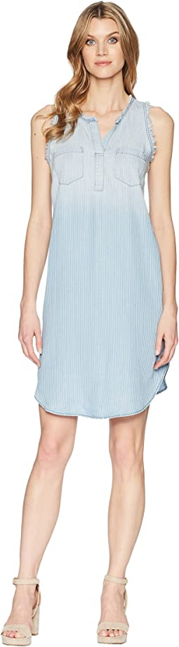 Printed Lyocell Sleeveless Shirtdress with Frayed Edge Detail
