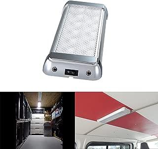 Lightronic 10.3 Inch 12-24V 12W 1200 Lumens 6000K LED Light Fixture in Silver for RV (1 Pack)