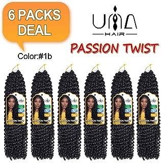 UNA 6 packs Passion Twist Hair Water Wave Crochet Braids for Passion Twist Crochet Hair Passion Twist Braiding Hair (18inch,6packs, 1B)