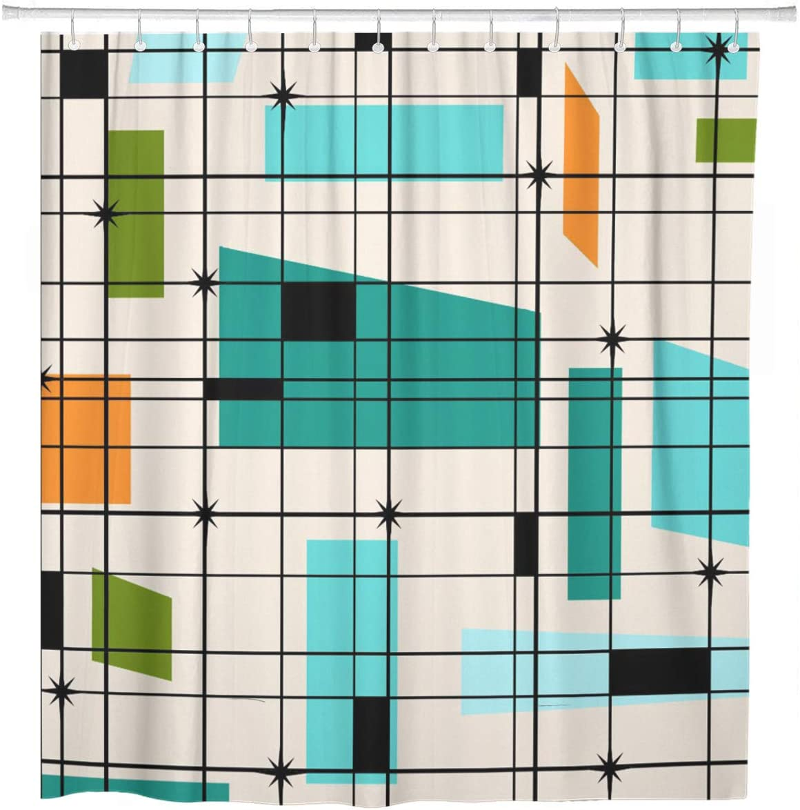 ArtSocket Shower Curtain Teal Max 83% OFF Mid Retro Grid Oran Starbursts 67% OFF of fixed price and