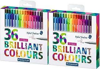 Staedtler Color Pen Set, 2 Sets of 36 Assorted Colors (Triplus Fineliner Pens) - 72 Pens!