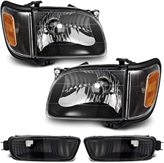 Partsam Headlight Assembly Compatible with Toyota Tacoma 2001 2002 2003 2004 Side Left Right Headlamp Replacement Black Housing w/Amber Reflector Corner Parking Signal Lights and Bumper Lamps