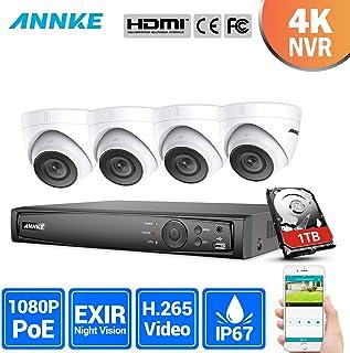ANNKE Kit Sistema de Seguridad POE 6MP NVR de 8 Canales y 4 Cámaras de Videovigilancia 1080P IP67 Interior/Exterior Visión nocturna y Detección de movimiento-1TB HDD