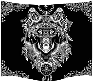 Simsant Tribe Wolf Totem Tapestry Wild Animal Wall Hanging Cloth National Style Wall Blanket Thicken Flannelett Black,60x60inches 152.4.6x152.4CM