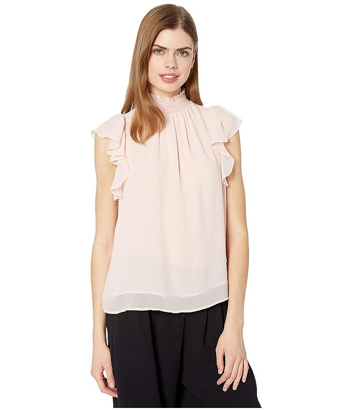 1.STATE  Flutter Sleeve Smocked Neck Blouse (Ballet Rose) Womens Blouse