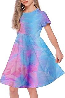 فستان VWMYQ للفتيات الصغار بأكمام قصيرة من قماش لامع مقاس 10-12
