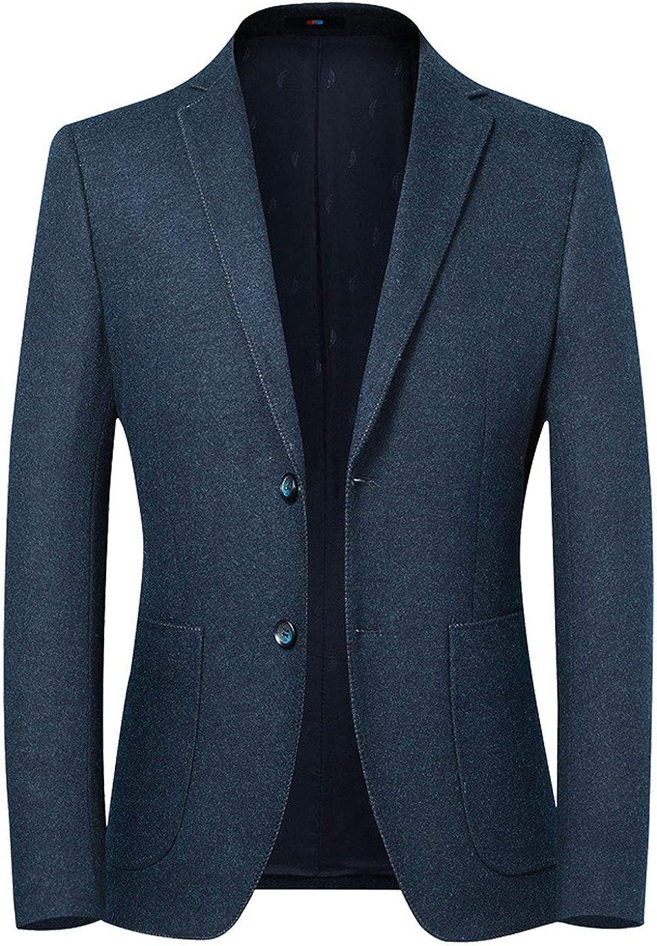 ebossy Men's Stylish 2 Button Slim Wool Blend Blazer Jacket Sport Coat Patch Pocket