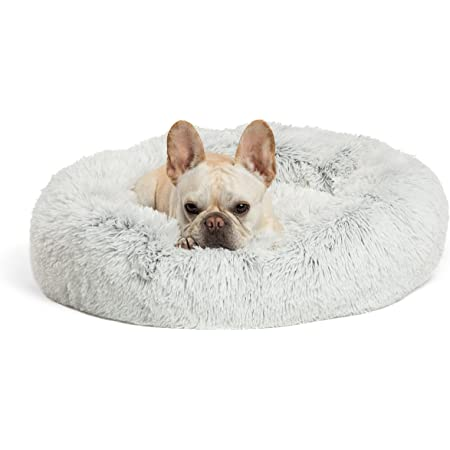 Best Friends by Sheri The Original Calming Donut Cat and Dog Bed in Shag or Lux Fur, Machine Washable, High Bolster, Multiple Sizes S-XL