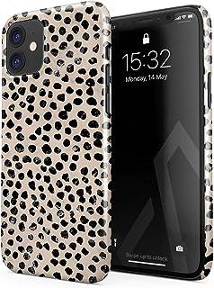 BURGA Hülle Kompatibel mit iPhone 12 Mini   Handy Huelle Schwarz Punktmuster Polka Dots Pattern Nude Almond Latte für Frauen Dünn Robuste Rückschale aus Kunststoff Handyhülle Schutz Case Cover