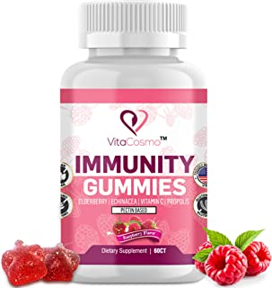 Immunity Gummies 4-in-1 for Kids & Adults, with Elderberry, Echinacea, Vitamin C and Propolis, Advanced Immune Defense, Ve...