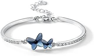 T400 Blue Purple Pink Butterfly Crystal Bangle Bracelet Birthday Gift for Women Girls