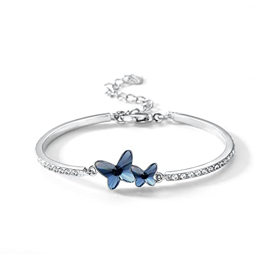 7338aa3ae T400 Blue Purple Pink Butterfly Bangle Bracelet Made with Swarovski  Elements Crystal ♥ Birthday Gift for