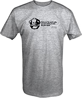 One Stop Gear Karl Marx Union Workers The World Unite Loose Your Chains Quote T Shirt