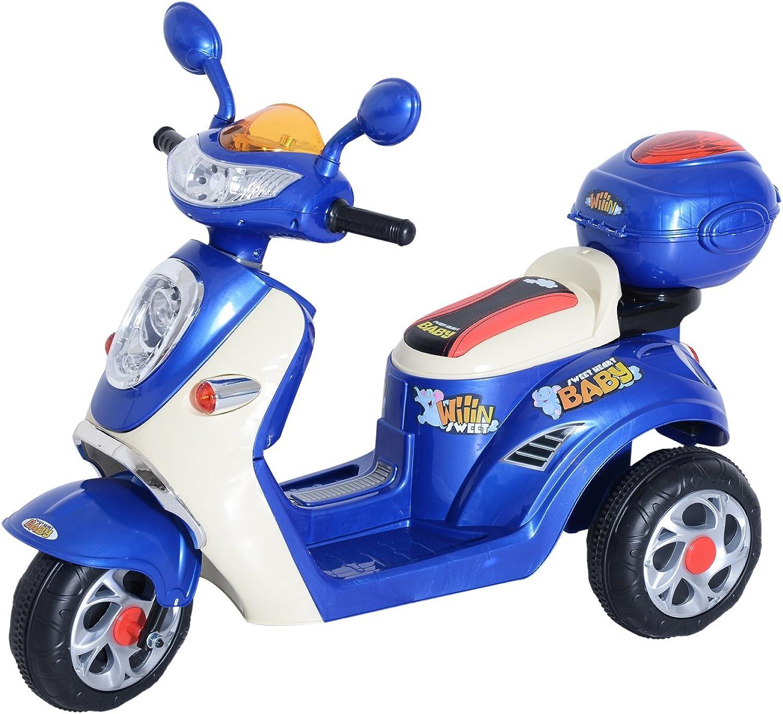 despacho de tienda HOMCOM Coche Triciclo Moto Eléctrica Infantil Correpasillos a Batería 6V 6V 6V Niños 3-8 años con Caja Trasera de Almacenamiento Metal + PP 108x51x75cm  ventas de salida