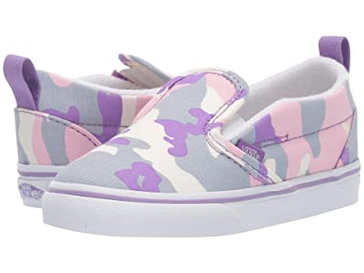 Vans Kids Slip-On V (Infant/Toddler) ((Pastel Camo) Fairy Wren/Marshmallow) Girls Shoes