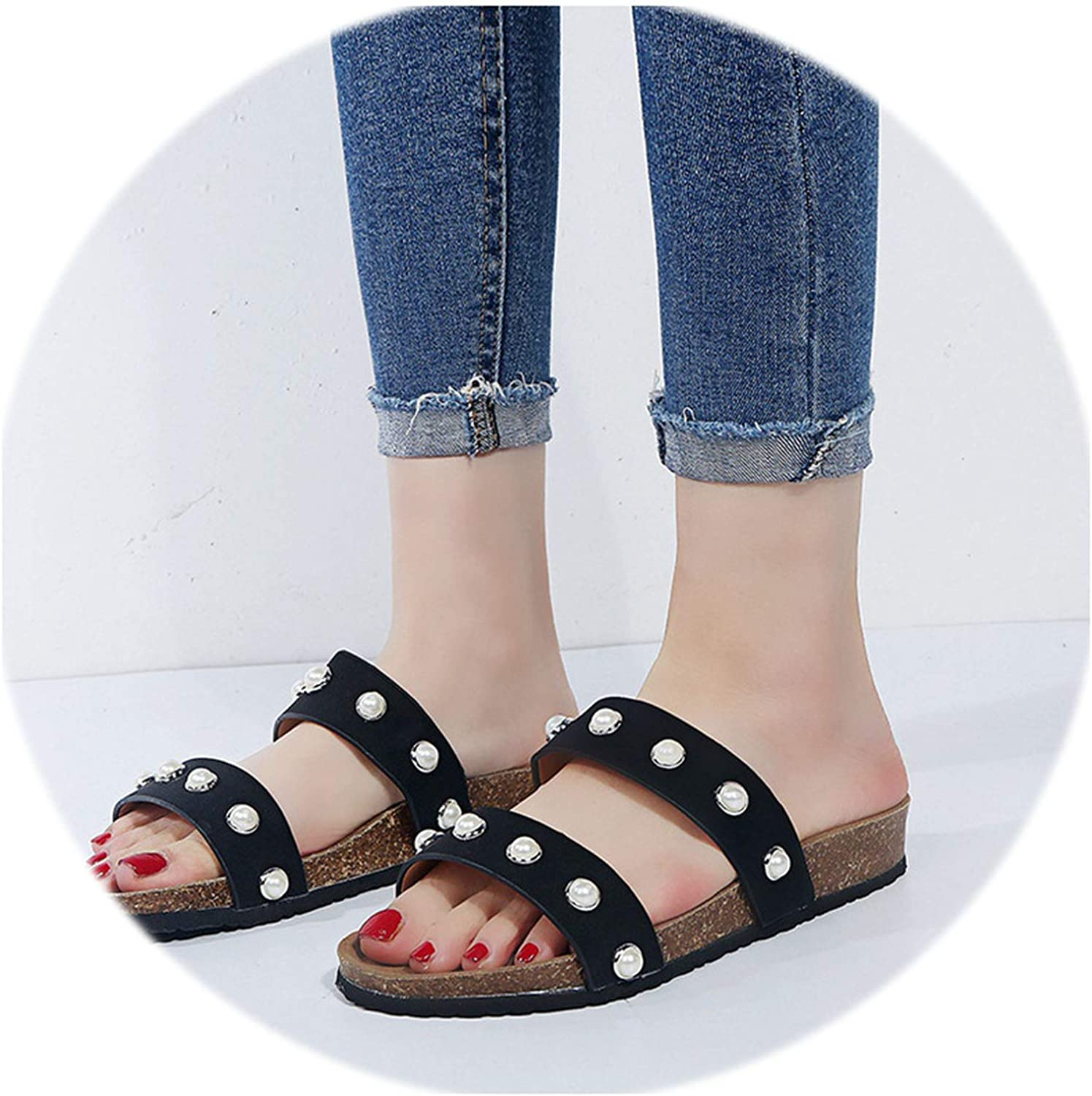 Rather be 2019 Summer Women Slipper Plus Size 35-44 Fashion Brand String Bead Sandal Women Flat Heel Casual Slipper shoes Muje