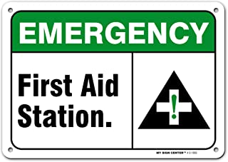 Emergency First Aid Station Sign, Made Out of .040 Rust-Free Aluminum, Indoor/Outdoor Use, UV Protected and Fade-Resistan...