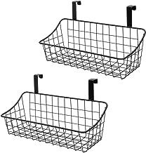 VoiceFly 2 Pack Diversified Grid Storage Basket, Over The Cabinet Door, Steel Wire Organization for Kitchen & Bathroom, Black