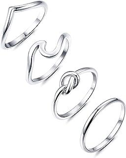 YADOCA 3 Pezzi Anelli in Acciaio Inossidabile per Donne Ragazze Fidanzamento Amore Anello Nodo Set Anello per Pollice in Argento Chevron Anello da Spiaggia Oceano Onda Dimensioni 4-12