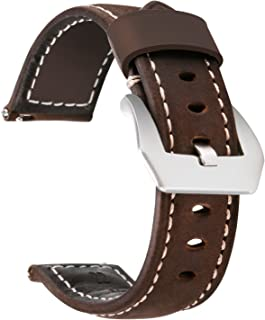 Moretek 22mm 20mm Leather Watch Strap Quick Release Replacement Bracelet Band for Samsung Gear S3 Frontier / Classic Gear2 R380 Neo R381 Live R382, Gear S2 Smartwatch, Moto 360 2nd 42mm Accessories