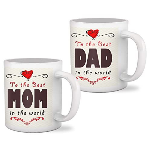 Tied Ribbons To The Best Mom Dad In World Printed Set Of 2 Coffee Mug