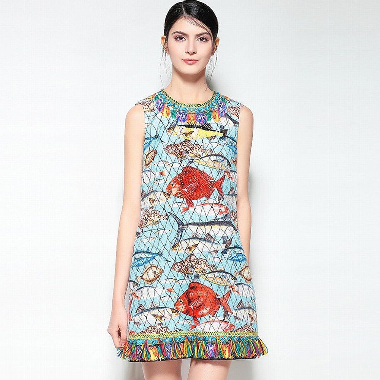 DEED Spring and Summer Fashion Fish Print Tassel Heavy Beaded Vest Skirt Dress