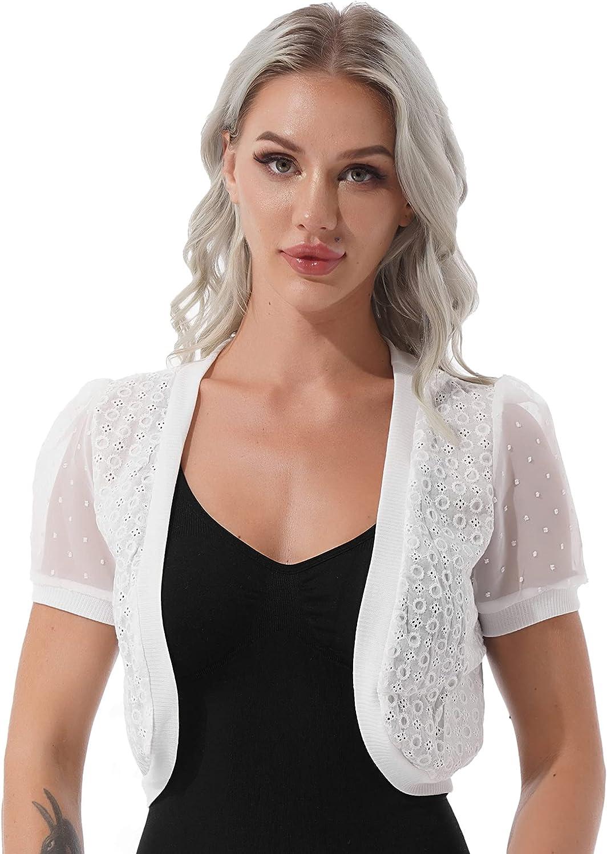 ACSUSS Women's Lace Shrug Short Sleeve Bolero Cover Up Open Front Cardigan Dress Shawl Chiffon