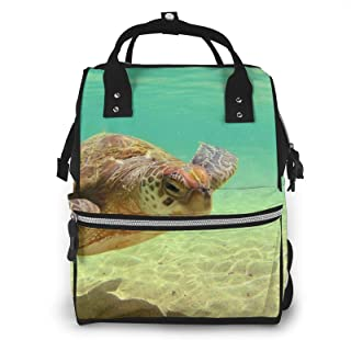Lord Howe Island Sea Turtle Print Diaper Bag Backpack,Multi-Function Maternity Nappy Bags For Travel,Large Capacity,Waterp...