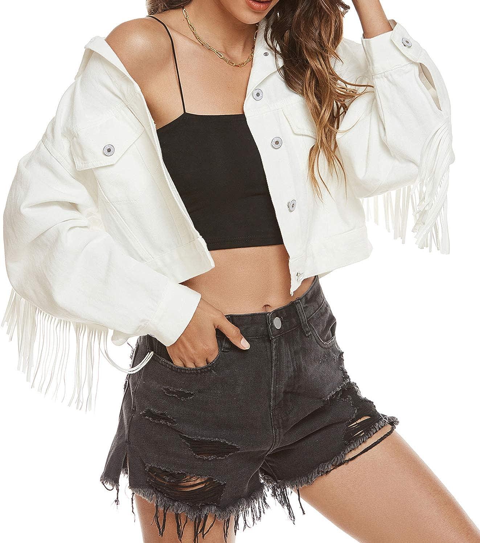 SCOFEEL Women's Crop Denim Jean Button Down Long Sleeve Jacket with Fringe