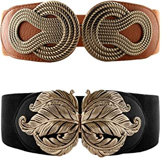 VOCHIC 2pcs Vintage Metal Interlock Buckle Elastic Waist Belt Womens Basic Wide Stretchy Cinch for Dress
