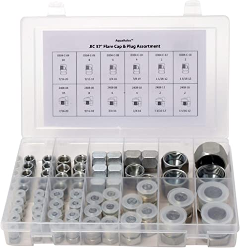 64 Pcs. JIC 37° Flare Thread Cap & Plug Assortment Kit, Galvanized Steel with Precision Threading Hydraulic Adapter A...