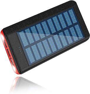 RUIPU モバイルバッテリー 24000mah 大容量 ソーラーチャージャー 携帯充電器 3USB出力ポート LEDランプ搭載 iPhone/Android 各種対応 太陽光で充電でき 一週間の用量が満足できる