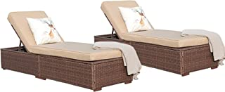 Super Patio Outdoor Adjustable Pool Wicker Rattan Chaise Lounge Chair Steel Frame, Beige Cushions, Brown PE Wicker,Set of 2