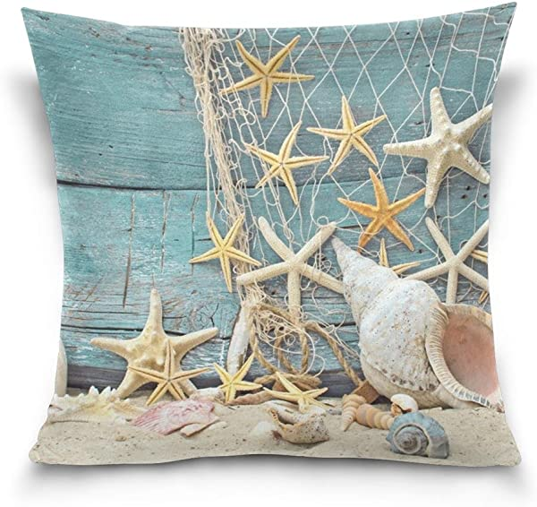 SUABO Throw Pillow Cover 20x20 Decorative Pillow Covers With Starfish Printed