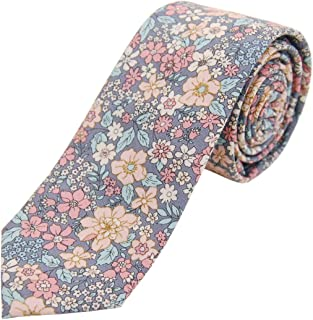 JNJSTELLA Men's Cotton Floral Skinny Necktie Tie with Gift Box