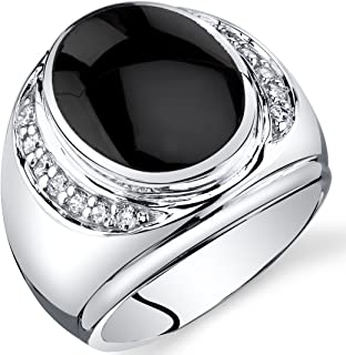 Mens Oval Cut Onyx Godfather Ring Sterling Silver Sizes 8 to 13