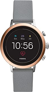 Fossil Women's Gen 4 Venture HR Heart Rate Stainless Steel and Silicone Touchscreen Smartwatch, Color: Rose Gold, Grey (Model: FTW6016)