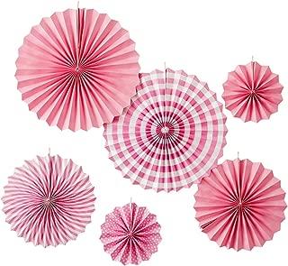 youta Hanging Paper Fans Kit Decor Folding Art Tissue Paper Fans Party Festival Wedding Home Decoration Pink
