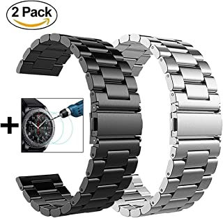 V-MORO Metal Strap Compatible with Galaxy Watch 46mm Bands/Gear S3 Classic Band 22mm Black Stainless Steel +Silver Strap Replacement for Galaxy Watch 46mm R800/Gear S3 Smartwatch
