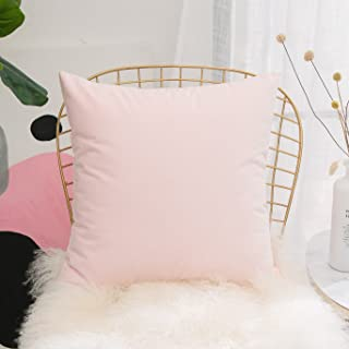 HOME BRILLIANT Super Soft Velvet Decorative Pillows Cover Cushion Cover for Couch Bench Bed, 18 x 18 inches 45x45cm, Pastel Pink