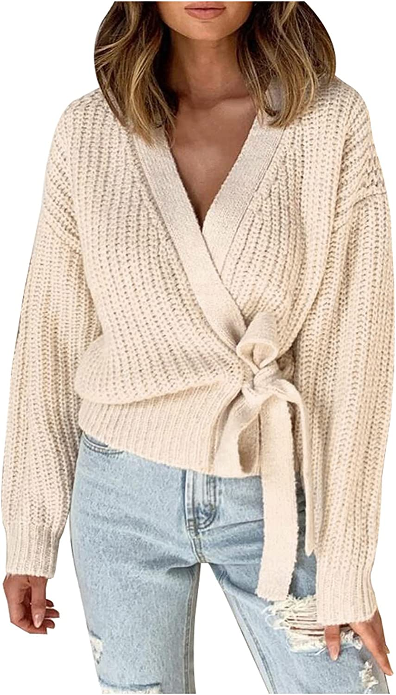 Sweater for Women Women's Cardigan Sweater Winter Wool Coat Loose Thin Knitted Short Coat with Belt Fall Winter Cardigan