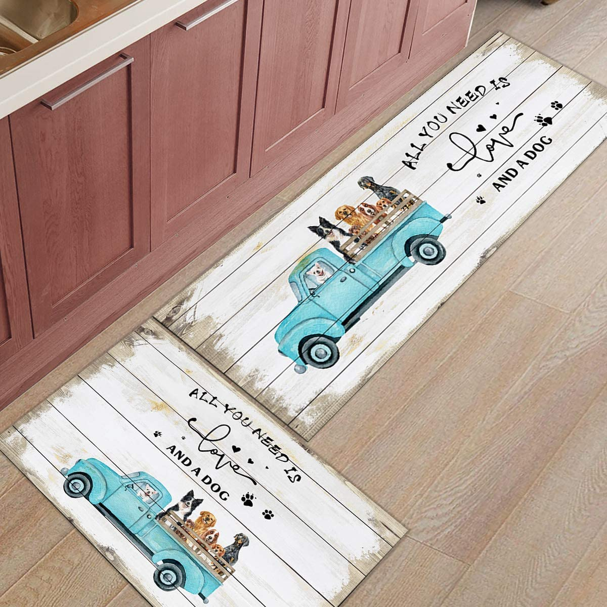 Set of In Super beauty product restock quality top! a popularity 2 Non-Slip Kitchen Mat Fatigue Anti Plank Piece Wooden