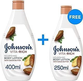 JOHNSON'S Body Lotion Vita-Rich Nourishing, 400 + 250 ml (Pack of 2)