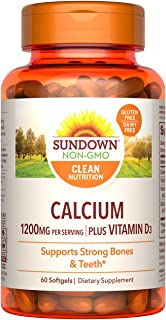 Calcium & Vitamin D by Sundown, Immune Support & Bone Health, 1200mg Calcium & 1000IU Vitamin D3, Gluten Free, Dairy Free,...