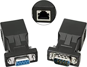 DB9 RS232 a RJ45, DB9 de 9 pines serie a RJ45 CAT5 CAT6 Ethernet LAN Adaptador de extensión Cable-2pcs