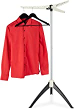 Relaxdays Hemden wasrek, voor 33 kleerhangers, inklapbaar, ruimtebesparend, strijkdroogrek HBT: 128x66x66 cm, wit, 1 stuk