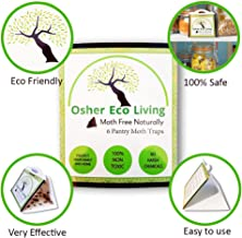 Osher Eco Living Pantry Moth Traps with Pheromones, Glue Trap Pest Control for Kitchen Or Closet   Get Rid of Moths, Kid and Pet Safe   Non-Toxic, No Insecticides or Odors   6 Pack