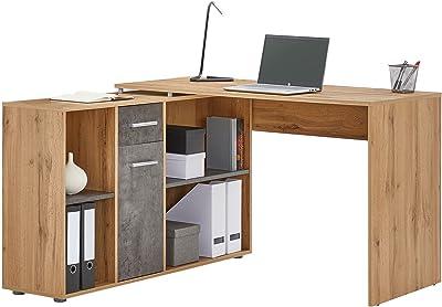 IDIMEX Bureau d'angle Carmen Table avec Meuble de Rangement intégré et modulable avec 4 étagères 1 Porte et 1 tiroir, décor chêne Sauvage et béton foncé