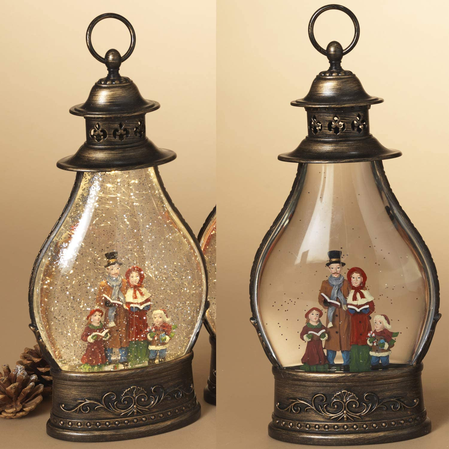15-Inch Vintage Light Up Snow Globe Water Lantern with Festive Christmas Caroler Figurines Tabletop or Hanging Holiday Decoration Lighted Winter Home Decor