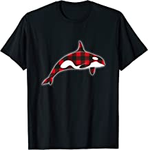 Red Plaid Orca Whales Lover Christmas Matching Family Pajama T-Shirt